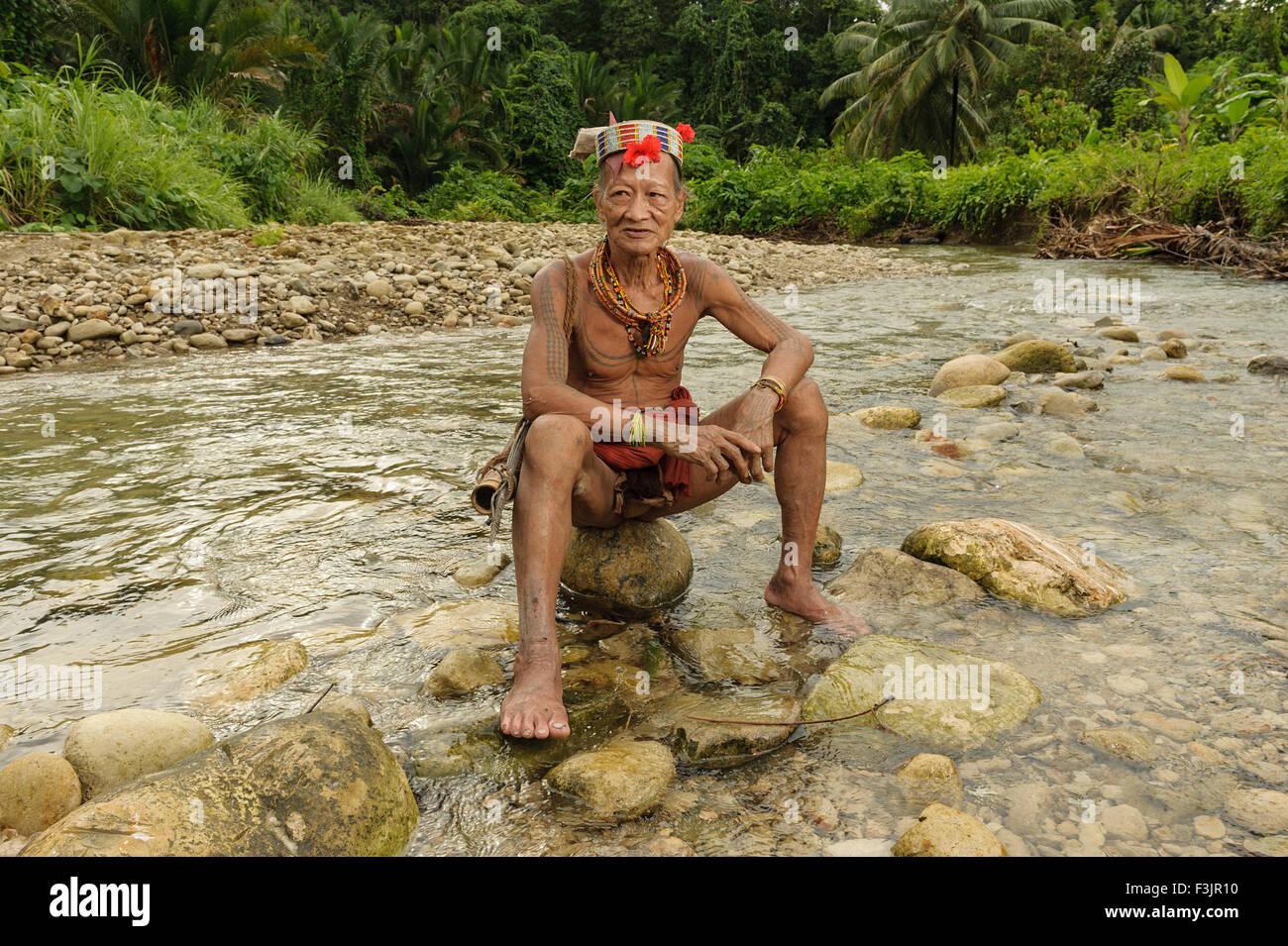 Gobbaik Toikod, 65, The indigenous inhabitants ethnic of the islands in Muara Siberut. - Stock Image