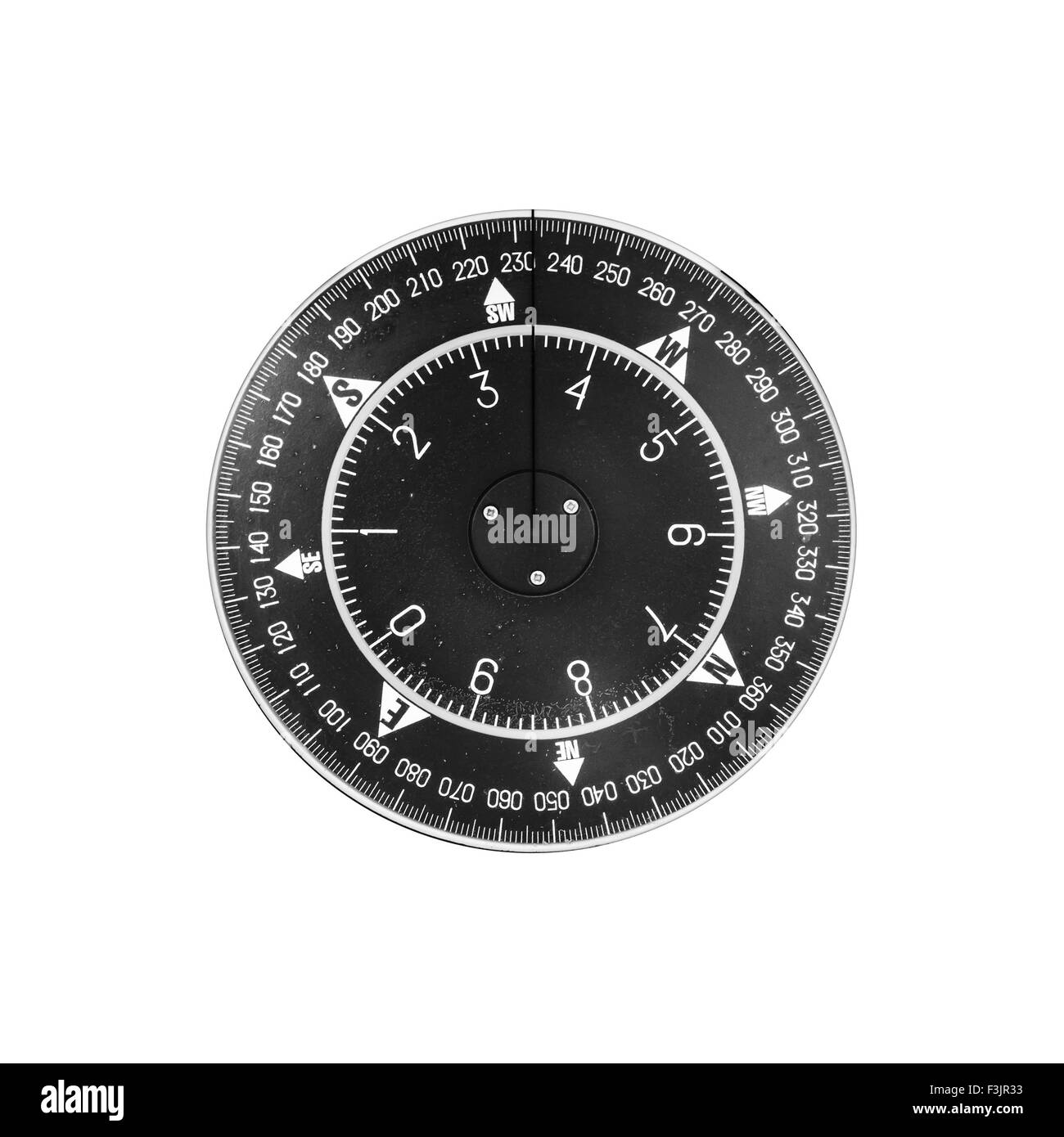 Black Modern Nautical Compass Deal Isolated On White Background