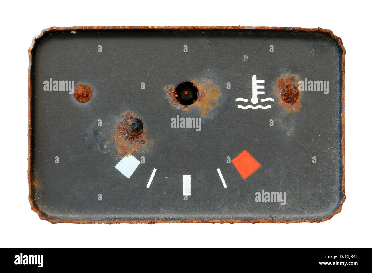 old broken and used oil indicator - Stock Image