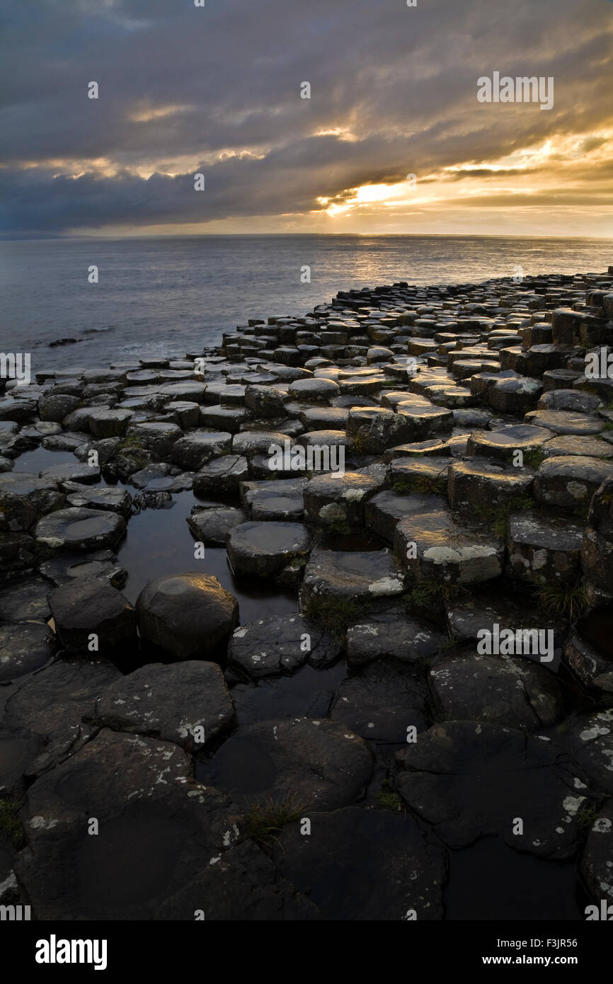 Sunset at the Giant's Causeway, County Antrim, Northern Ireland - Stock Image