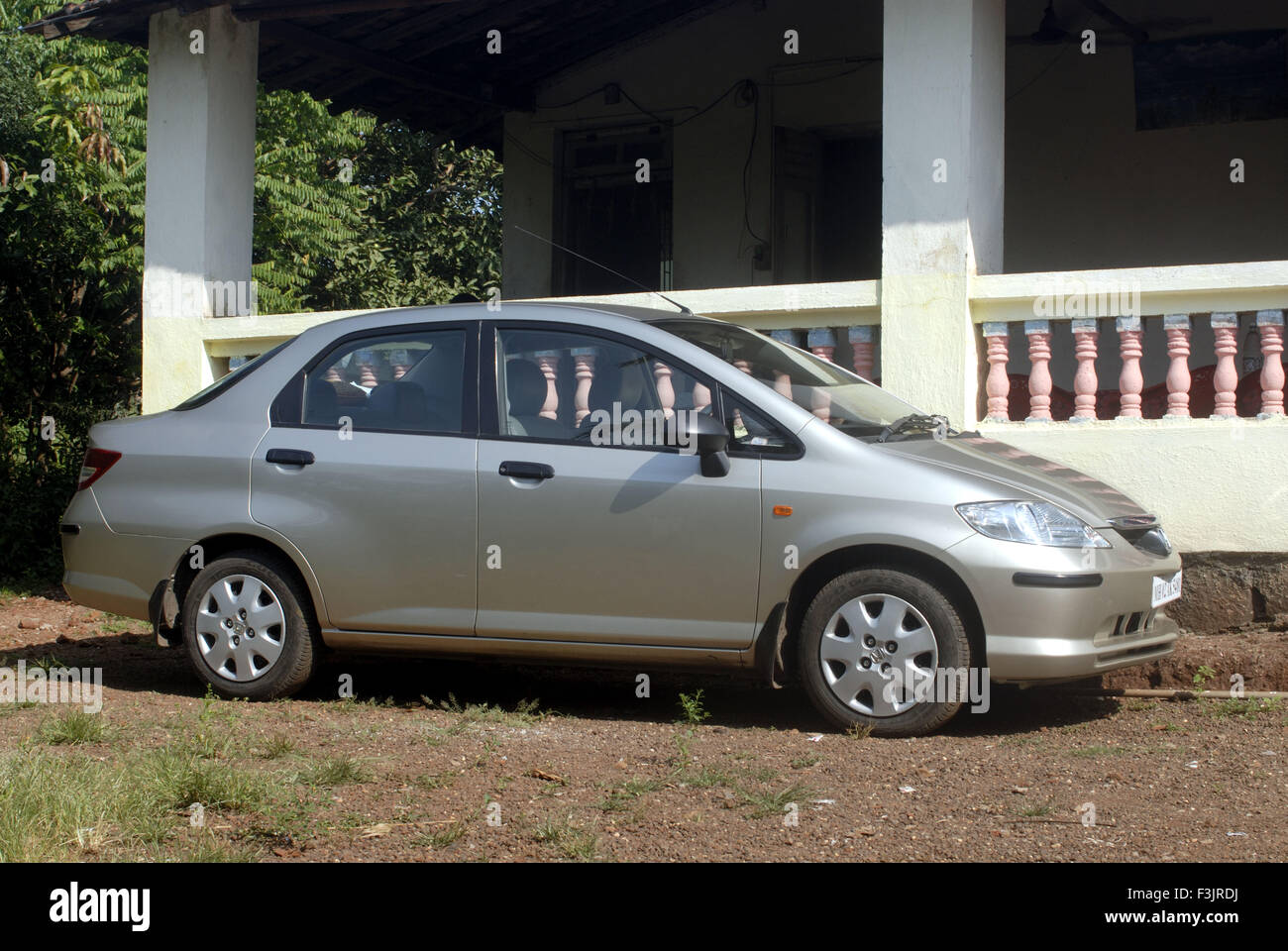 Honda City Luxury Car Park In Front Of Bungalow Silver Grey Color