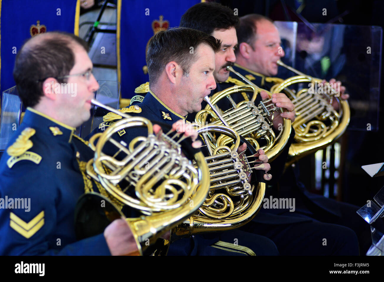 french horn section of the band of the royal air force college at F3JRM5 horn section stock photos & horn section stock images alamy