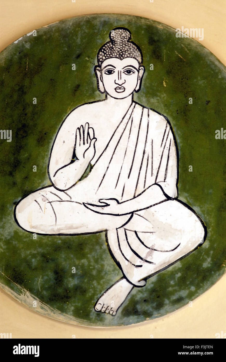 Wall painting Buddha ninth incarnation Lord Vishnu Ambalpadi Udupi karnataka india - Stock Image