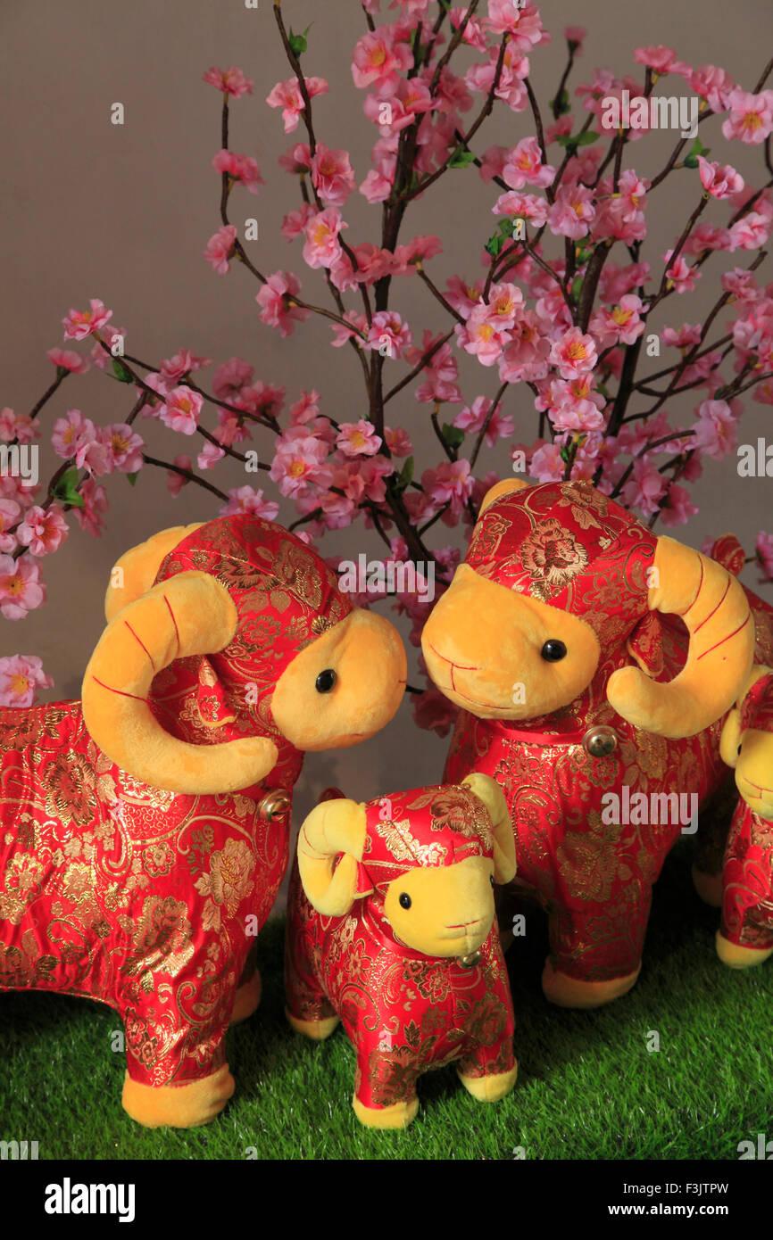 China, Macau, New Year of the Goat decoration, - Stock Image