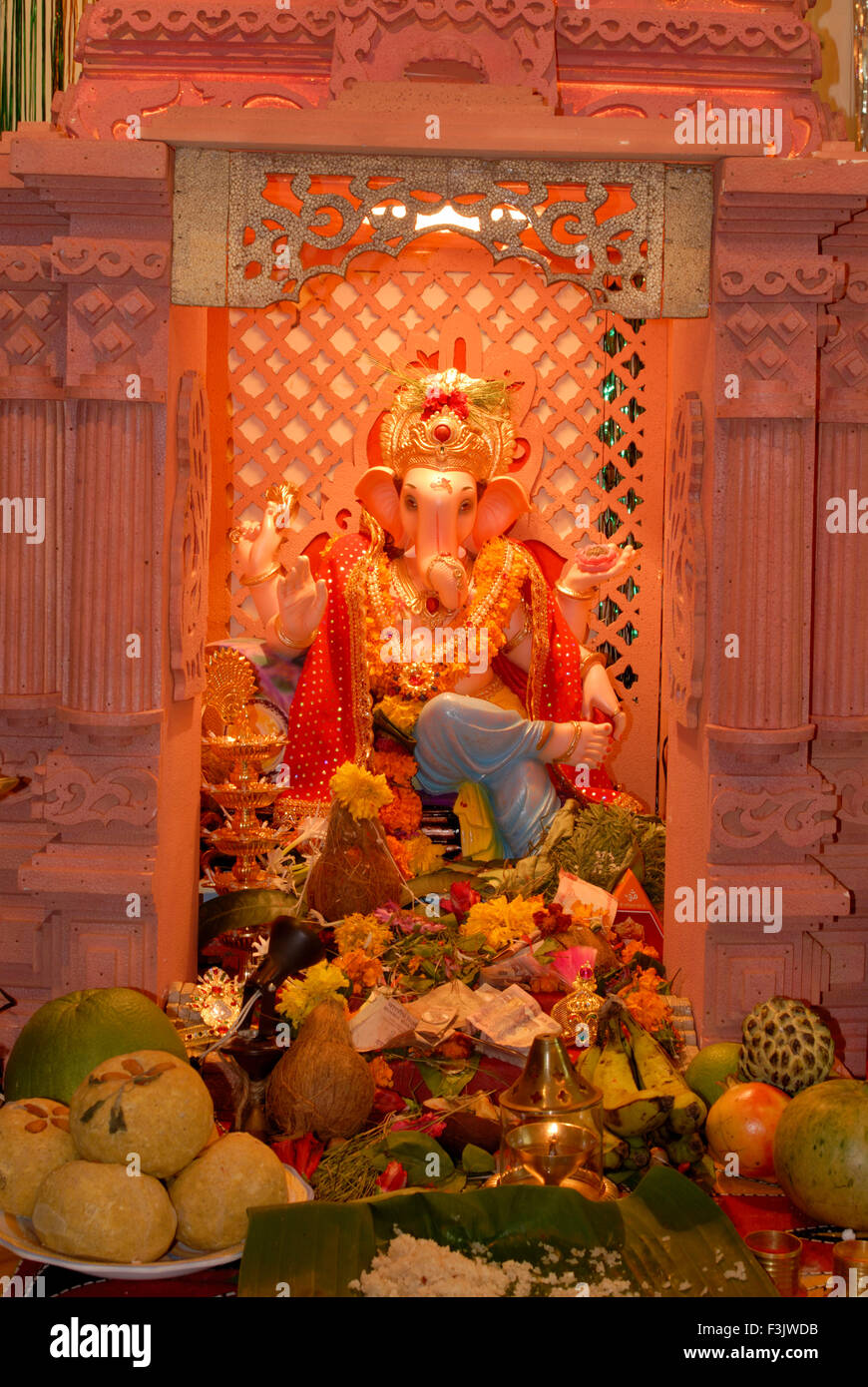 Idol Lord Ganesh Decoration Fruits Flowers Worship Ganapati Festival Home  Elephant Head God Of Hindu Mumbai Maharashtra India