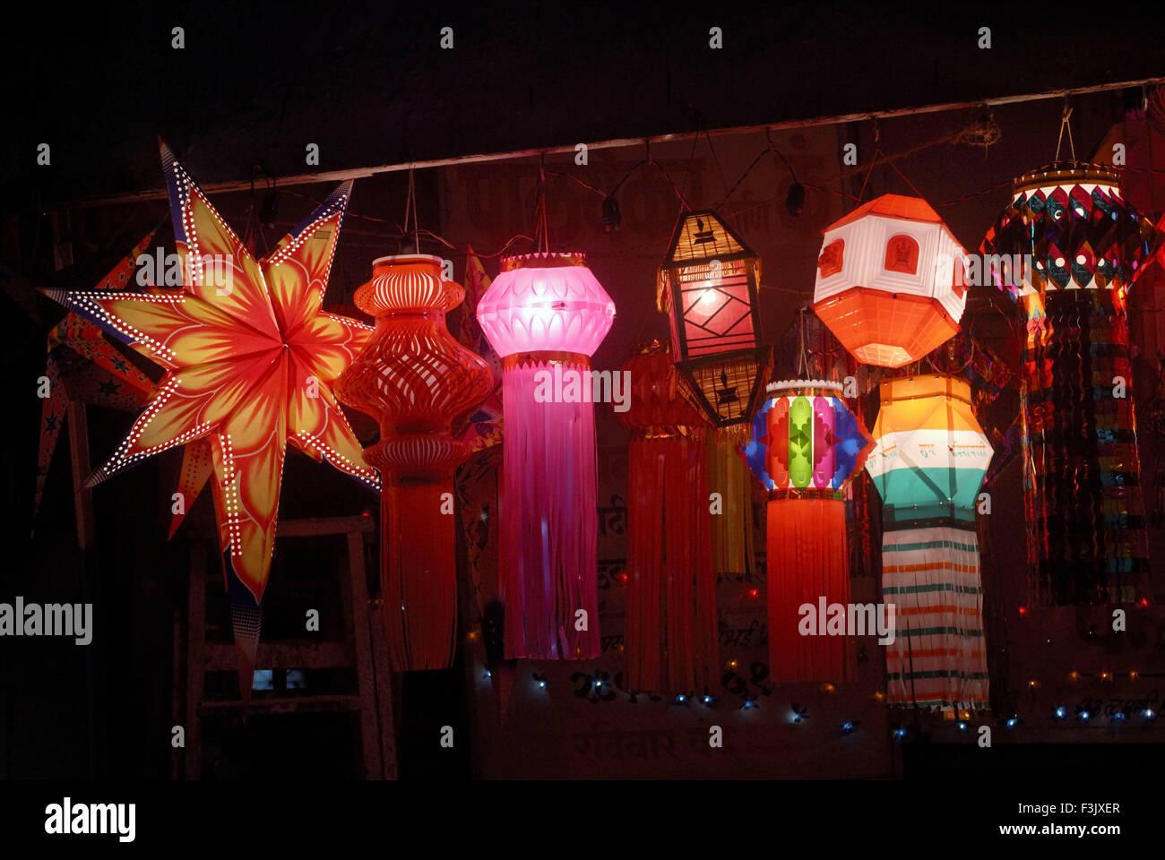 Paper Lanterns Kandil Kept For Sale In Shop For Diwali