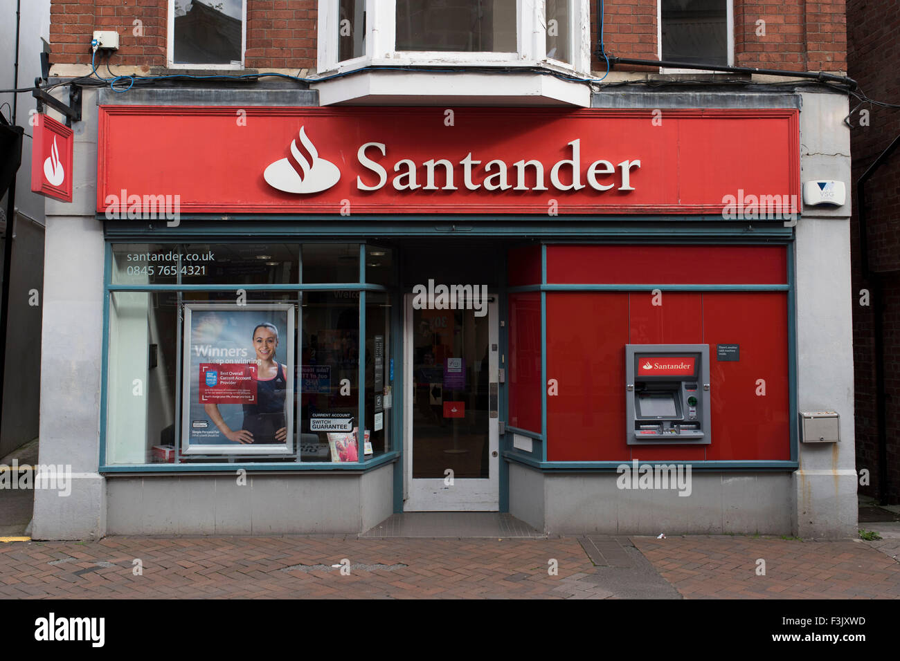 A Santander bank on the high street. - Stock Image