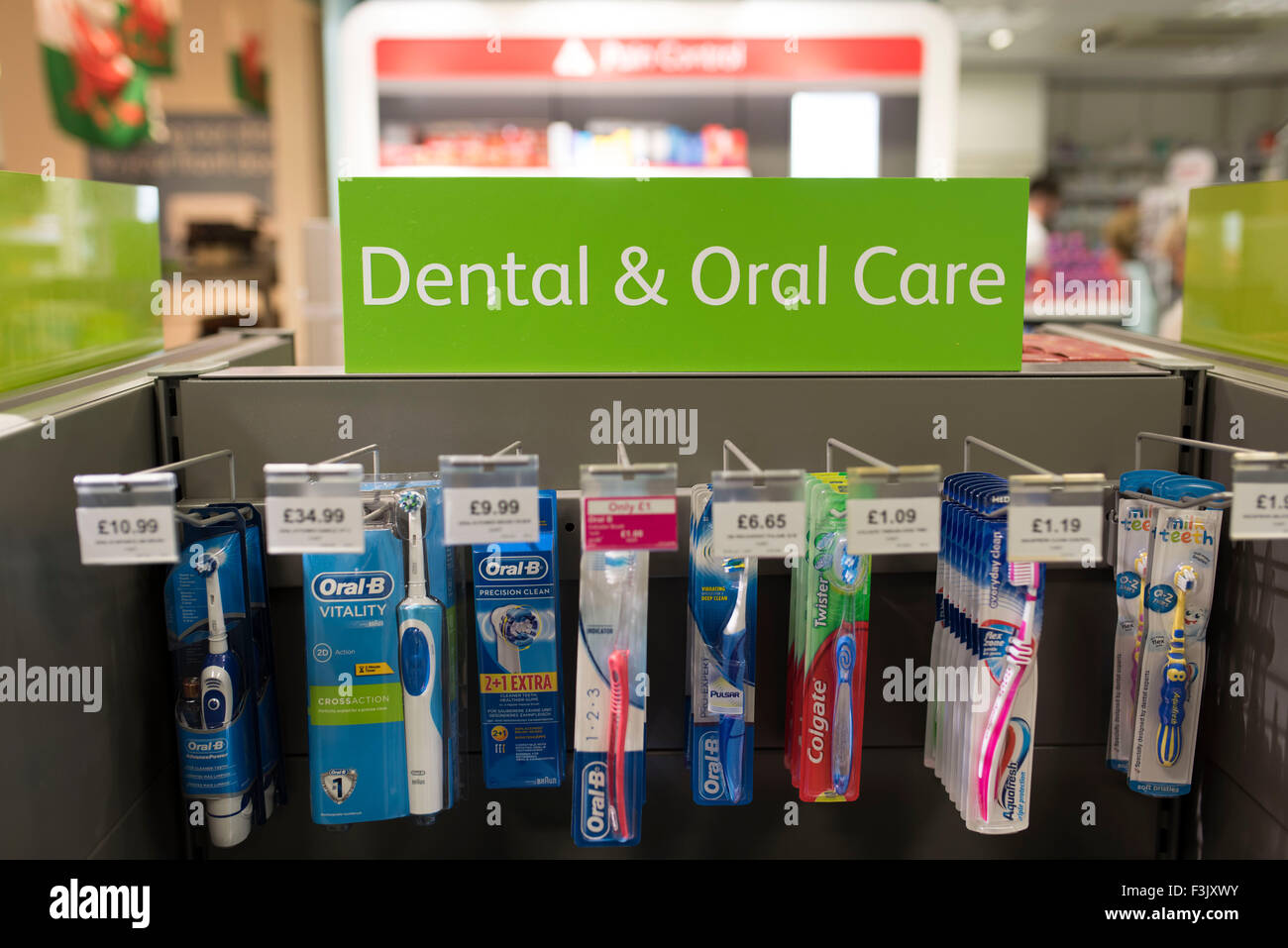 Toothbrushes on sale in a pharmacy / chemist. Stock Photo
