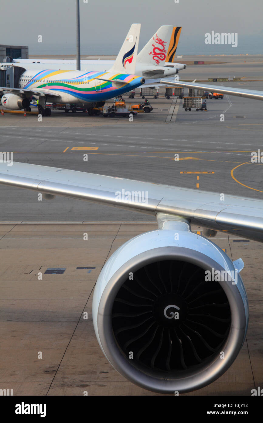 China, Hong Kong, airport, airplanes, - Stock Image