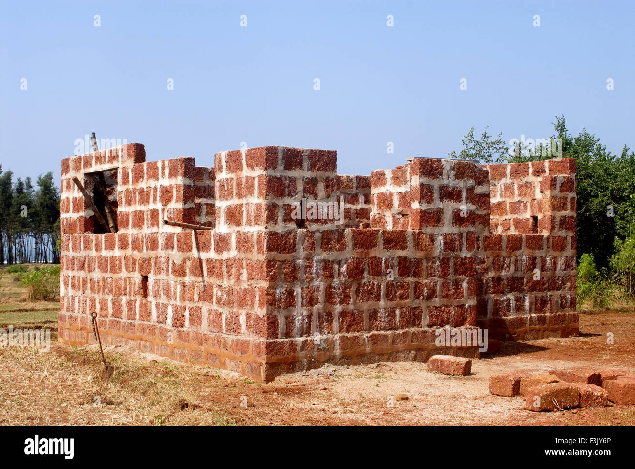 House Under Construction By Using Local Red Jambha Stone