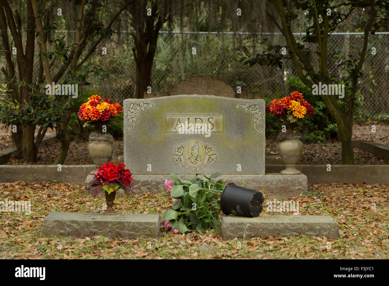 A colorful photograph of Bonaventure Cemetery in Savannah, Georgia. Here is a gravestone that says 'AIDS'. Stock Photo