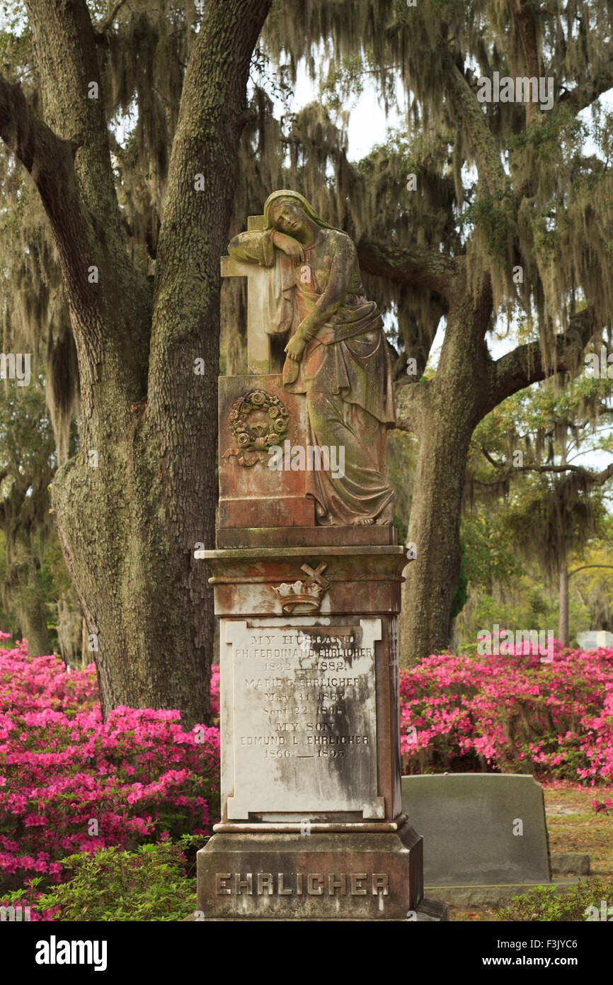 A colorful photograph of a statue in Bonaventure Cemetery in Savannah, Georgia. Stock Photo