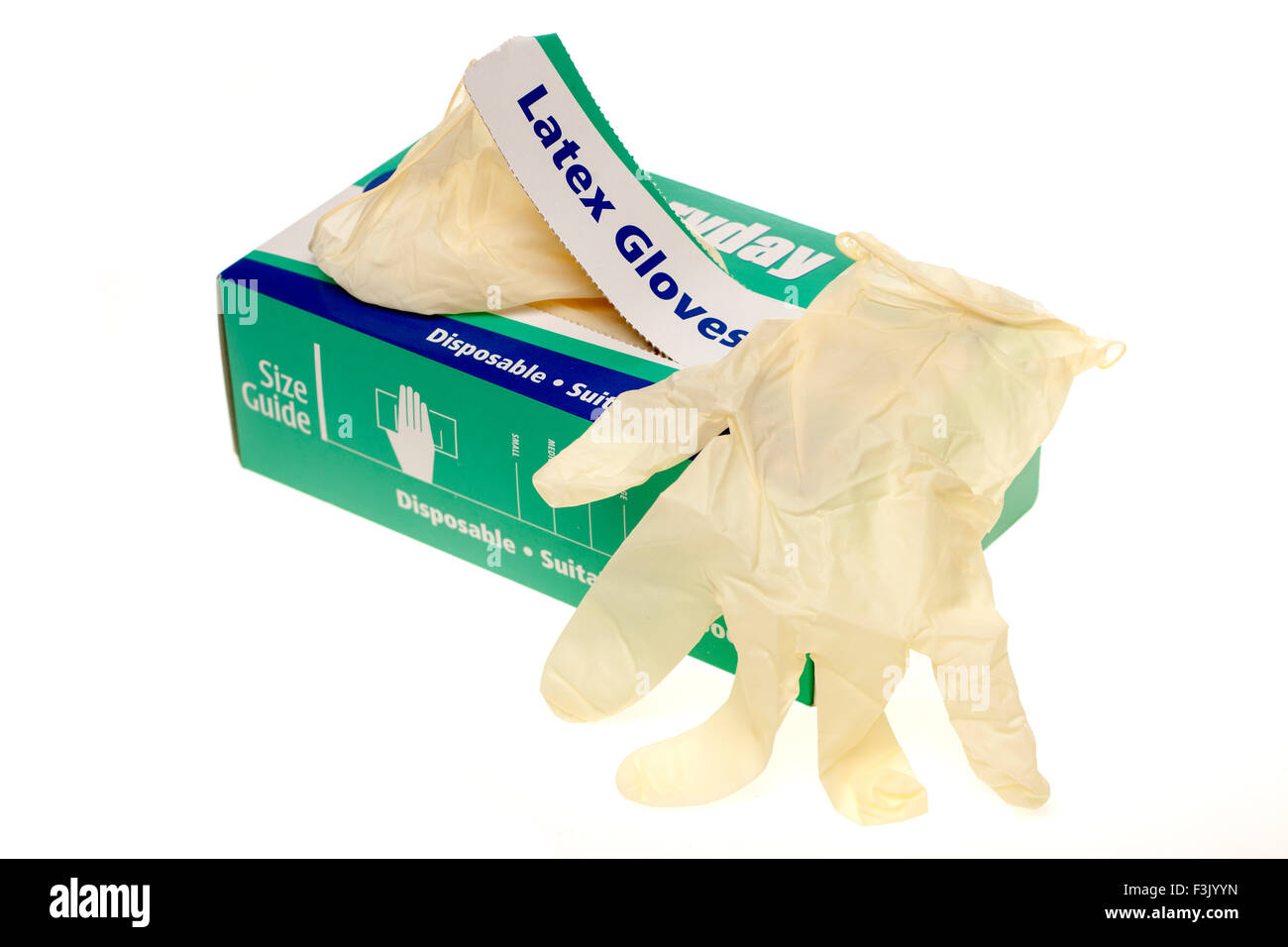 Box of 100 Everdayday powder free disposable large latex gloves - Stock Image