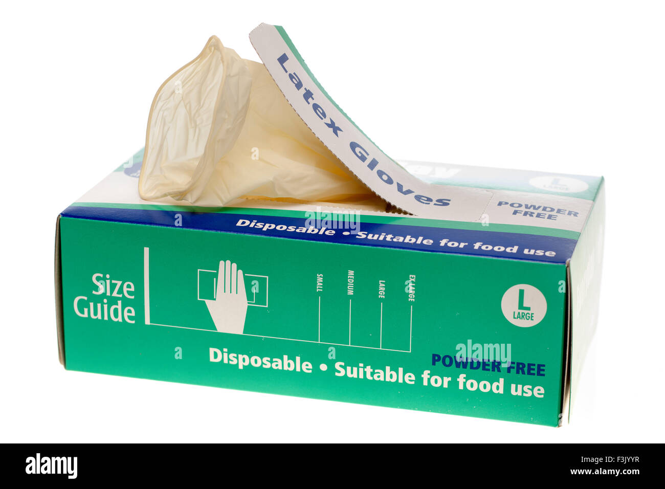 Box of 100 Everdayday powder free disposable latex gloves - Stock Image