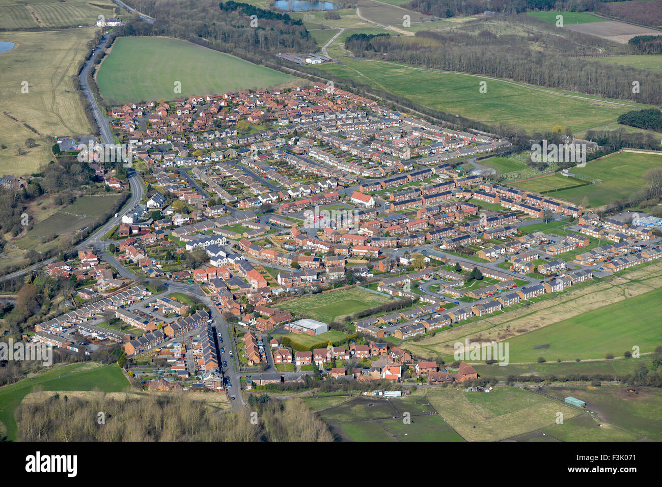 Aerial photography of Bournmoor, Tyne and Wear - Stock Image