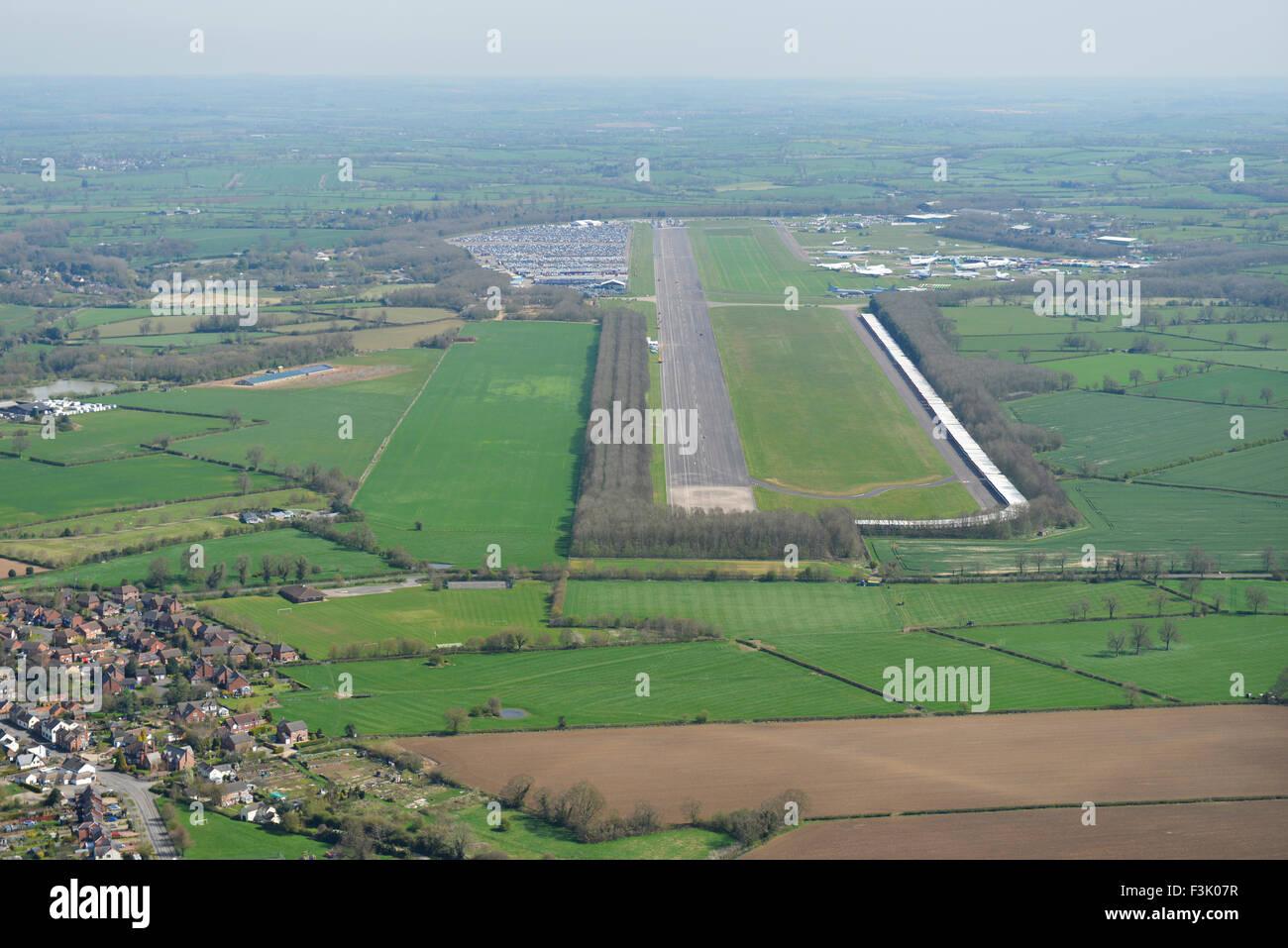 Aerial photograph of Bruntingthorpe Aerodrome and vehicle proving ground, Leicestershire - Stock Image