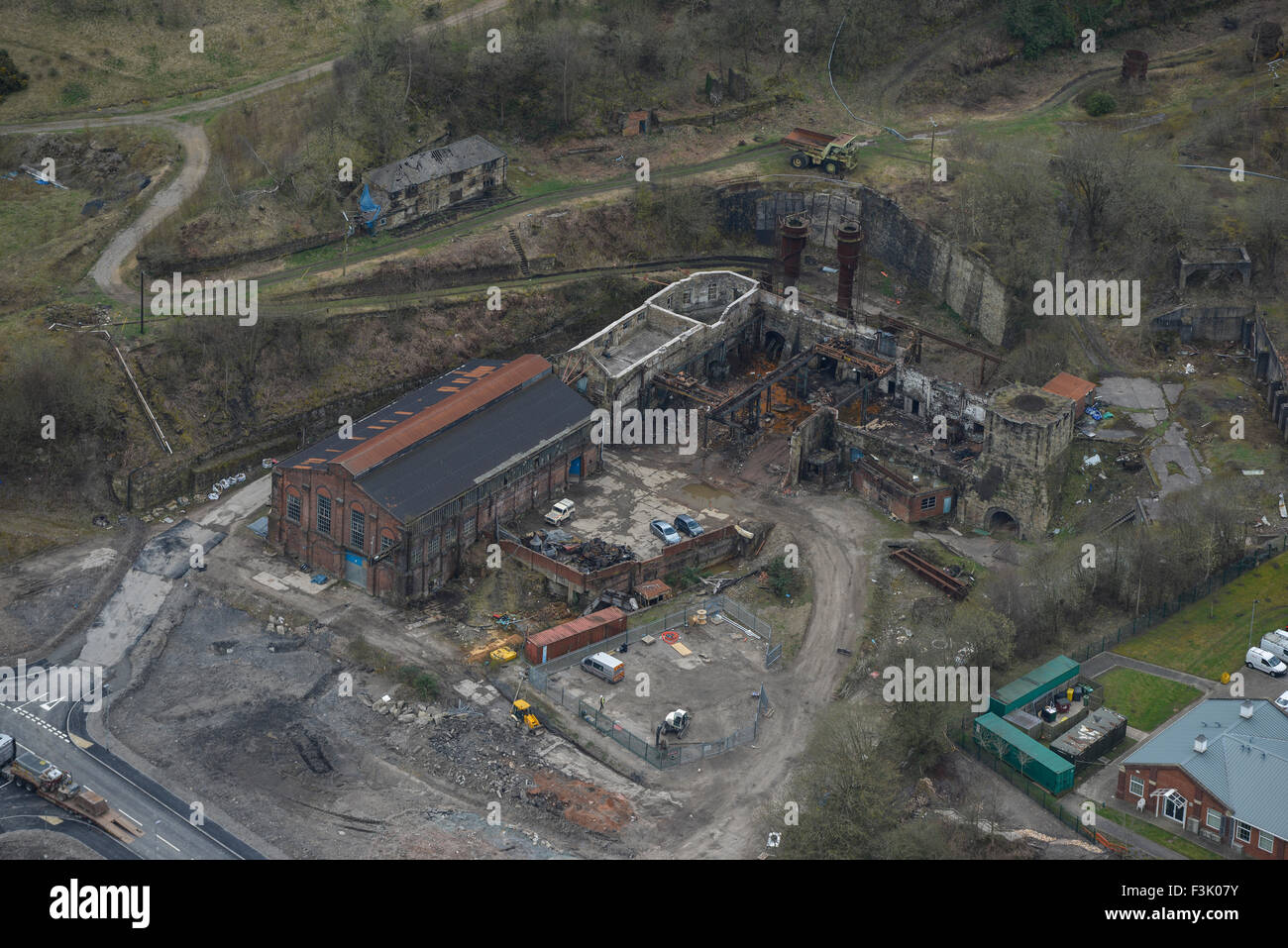 Aerial photograph of derelict steelworks, Brymbo - Stock Image