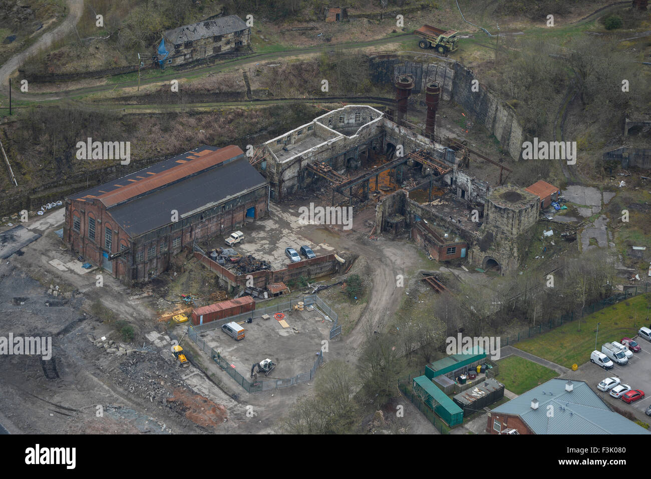 Aerial photograph of derelict steelworks, Brymbo Stock Photo