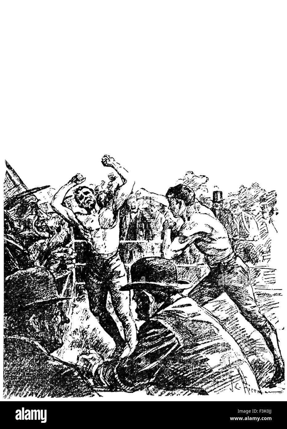 Vintage newspaper illustration depicting the famous bare-knuckle fight for the heavyweight Championship of America - Stock Image