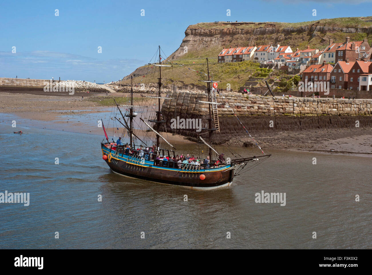 he 40% scale replica of Captain cook's Endeavour in Whitby harbour - Stock Image