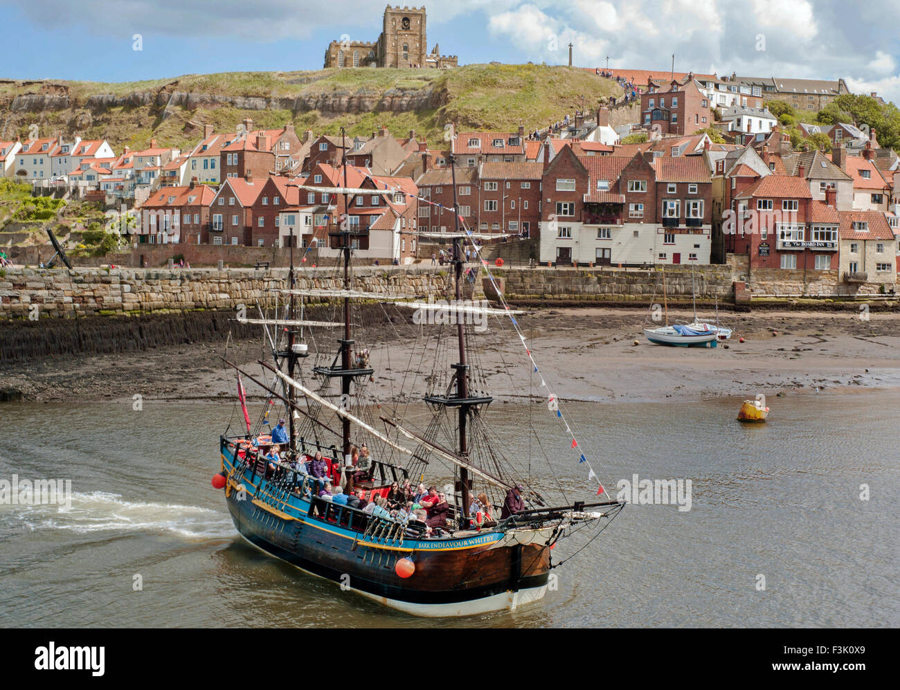 The 40% scale replica of Captain cook's Endeavour in Whitby harbour - Stock Image
