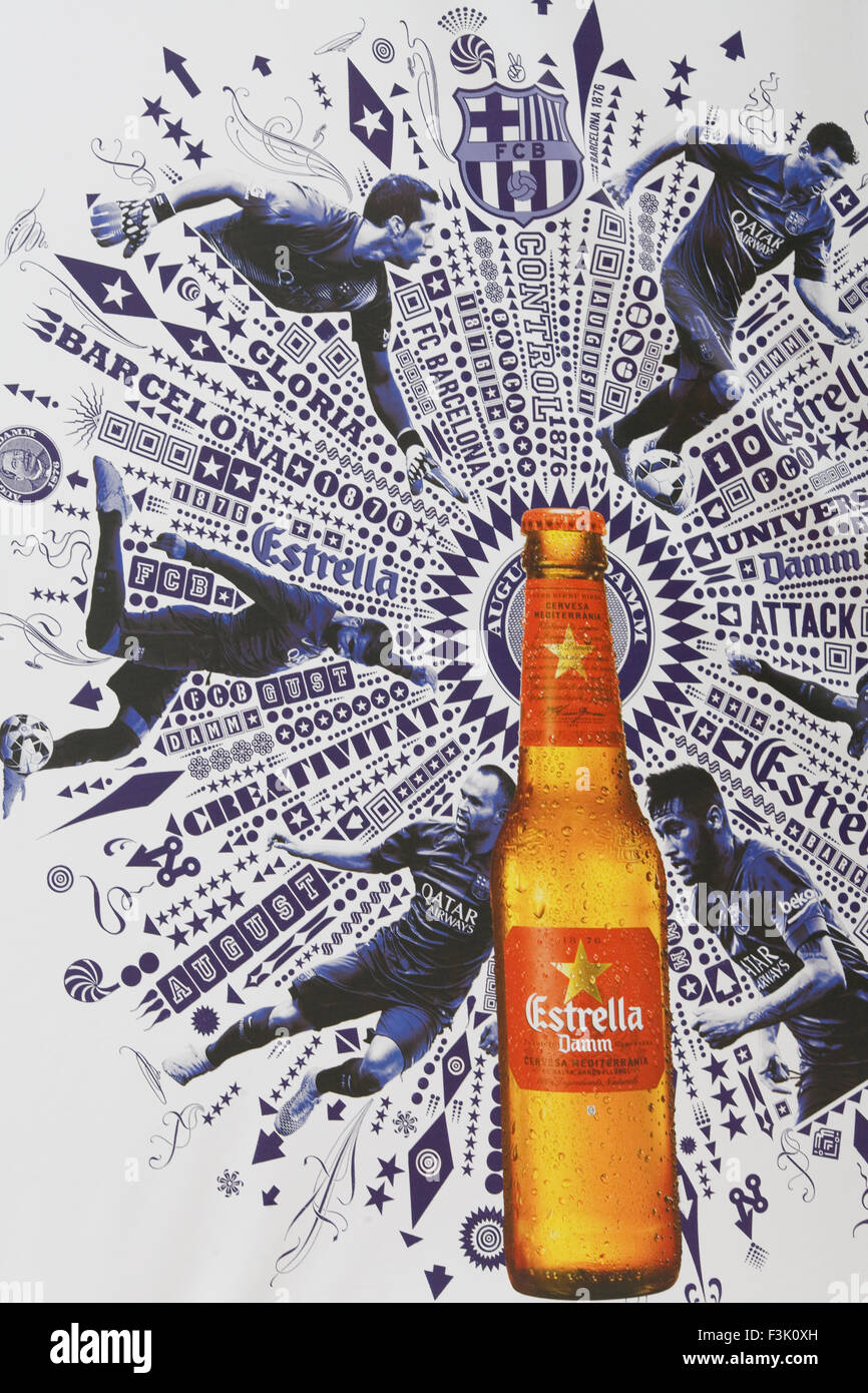 FCB Advertising Estrella Damm beer - Stock Image