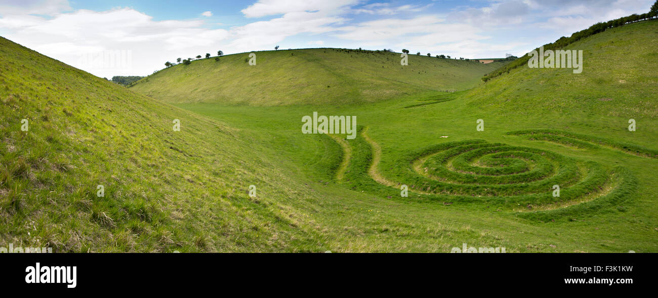 UK, England, Yorkshire East Riding, Thixendale, Waves and Time landscape artwork by artist Chris Drury, panoramic - Stock Image