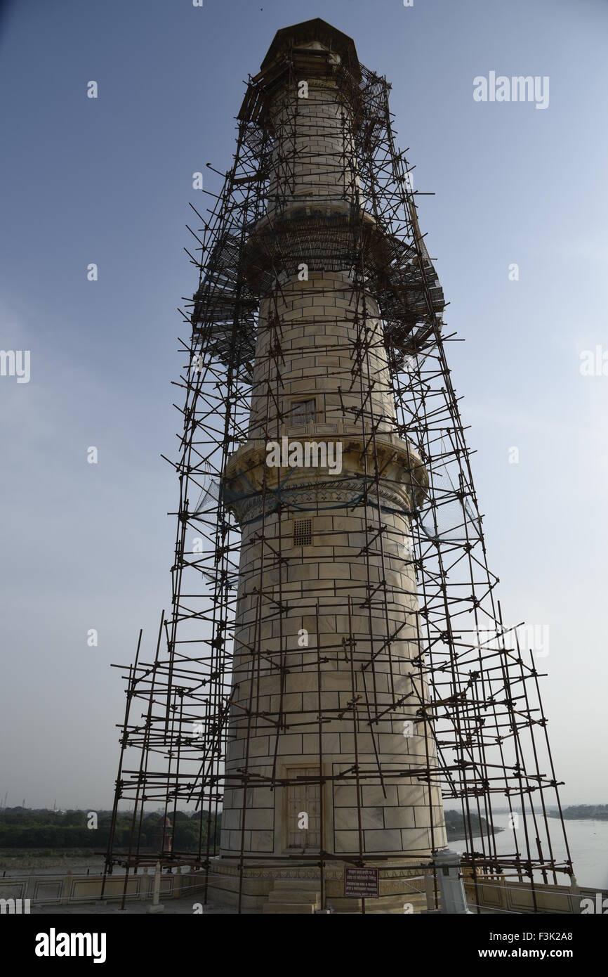 Taj Mahal White Marble Mausoleum Pillar Renovation Mughal