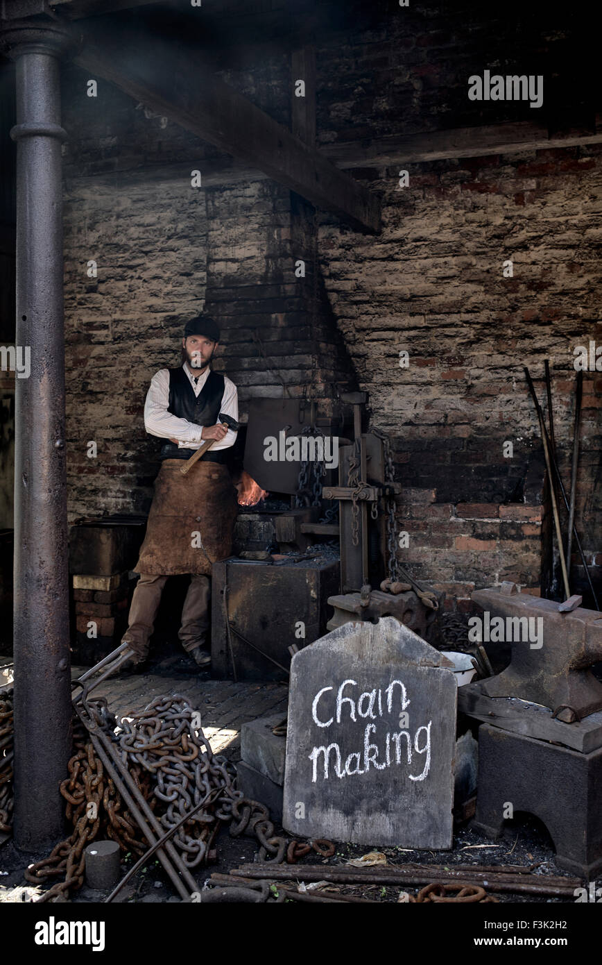 Blacksmith and forge at the Black Country Living Museum Dudley West Midlands England UK - Stock Image