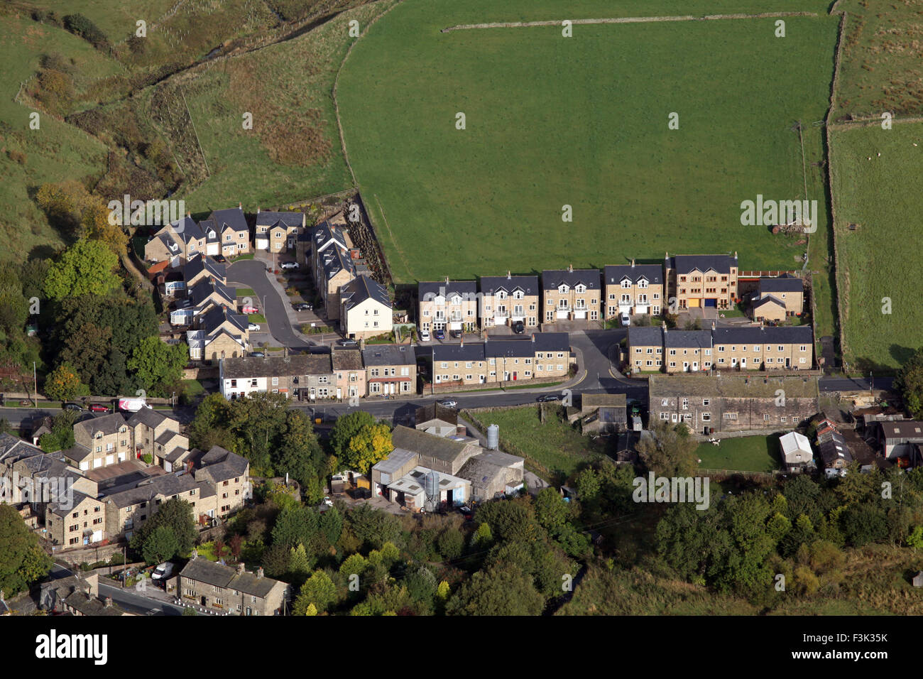 aerial view of new rural affordable housing in a Yorkshire village, UK - Stock Image