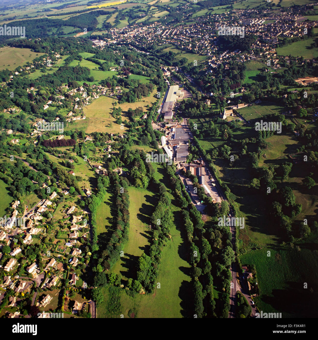 Aerial view of the Nailsworth valley, Gloucestershire - Stock Image