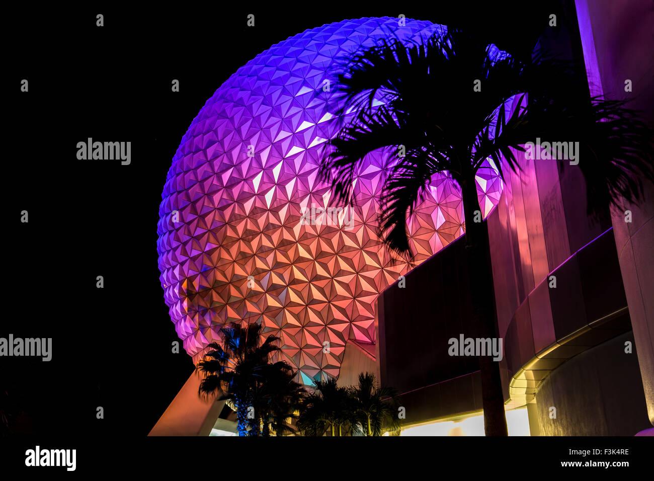 Spaceship Earth at Epcot theme park, Florida - Stock Image