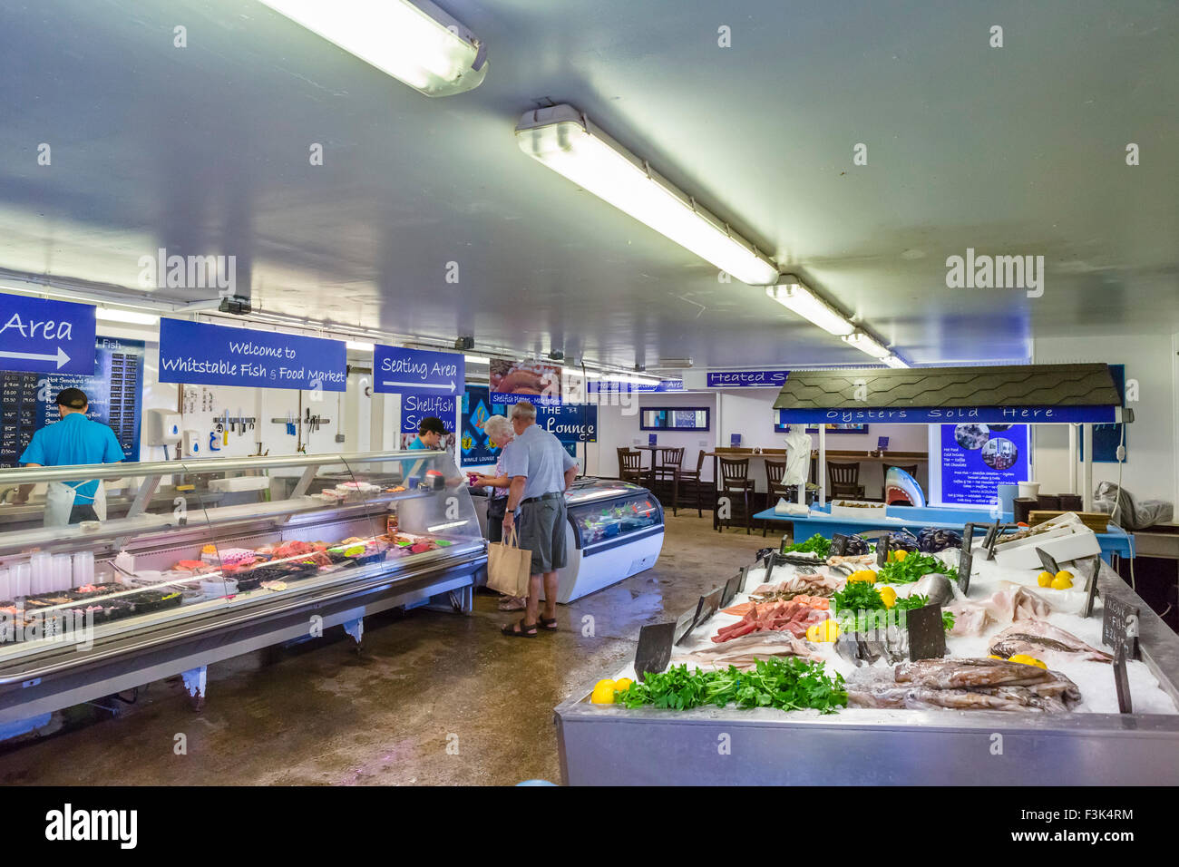 The Fish and Food Market by the harbour in Whitstable, Kent, England, UK Stock Photo