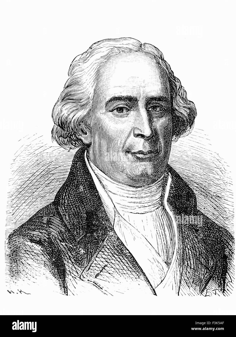 JOSEPH-MICHEL MONTGOLFIER (1740-1810) inventor of the hot-air balloon with his brother Jacques-Etienne - Stock Image