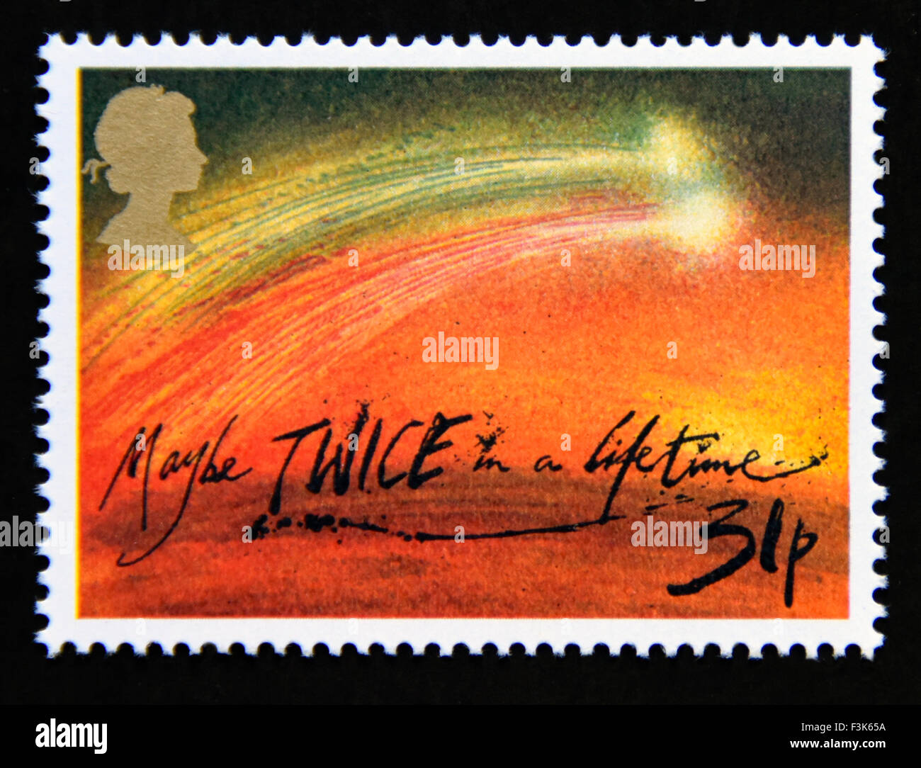 Postage stamp. Great Britain. Queen Elizabeth II. 1986. Appearance of Halley's Comet.'Maybe TWICE in a lifetime'. - Stock Image
