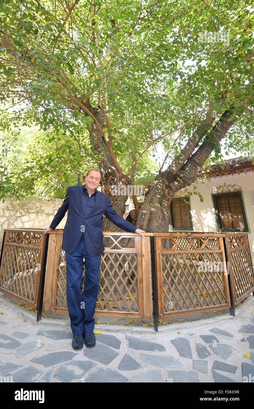 Former Italian Prime Minister Silvio Berlusconi poses for a photo during a visit the Khan's Palace with Russian - Stock Image