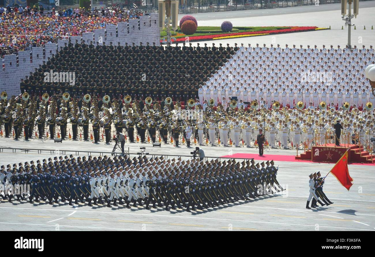 Chinese military parade commemorating the 70th anniversary of Japanese surrender during World War II in front of - Stock Image