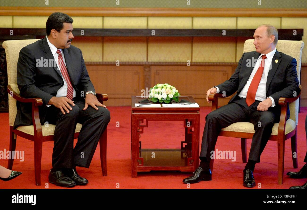 Russian President Vladimir Putin meets with Venezuela President Nicolas Maduro September 3, 2015 in Beijing, China. - Stock Image