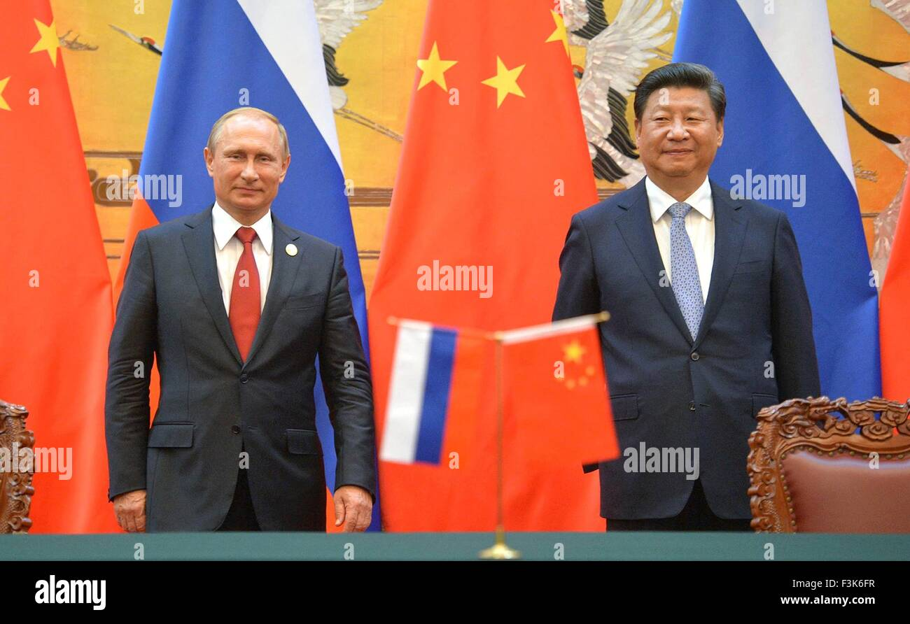 Russian President Vladimir Putin and Chinese President Xi Jinping during a signing ceremony September 3, 2015 in - Stock Image