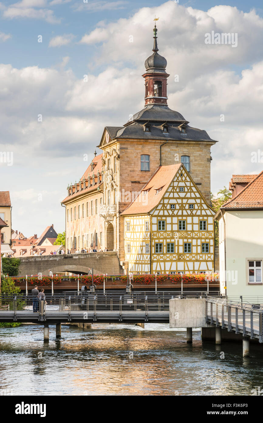BAMBERG, GERMANY - SEPTEMBER 4: Tourists at Altes Rathaus in Bamberg, Germany on September 4, 2015. The historic - Stock Image