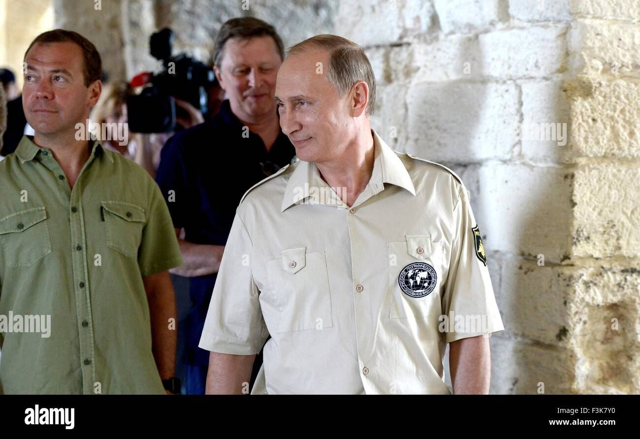 Russian President Vladimir Putin during a visit to the restored Fort Constantine museum August 18, 2015 in Sevastopol, - Stock Image