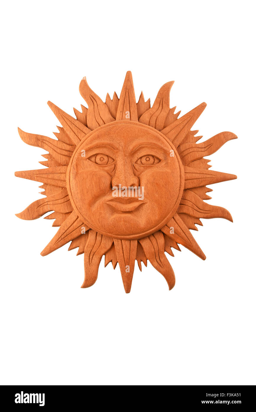 Mexican traditional mayan culture wooden carved sun symbol plate mexican traditional mayan culture wooden carved sun symbol plate isolated on white buycottarizona Images