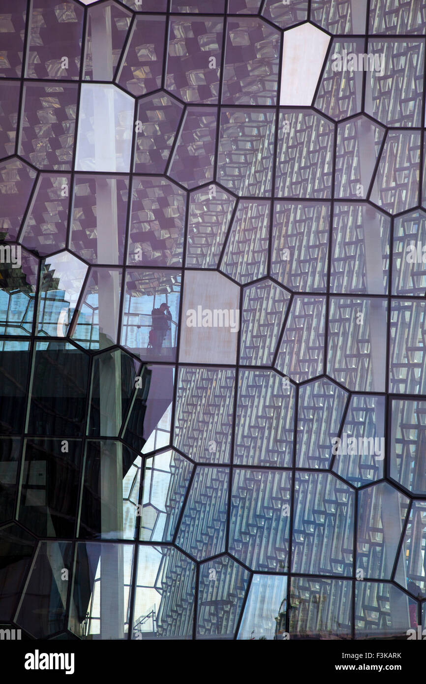 Geodesic exterior glass wall of Harpa Concert Hall, Reykjavik, Iceland. - Stock Image