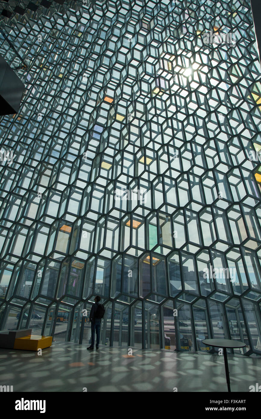 Person beneath a geodesic glass wall in Harpa Concert Hall, Reykjavik, Iceland. - Stock Image