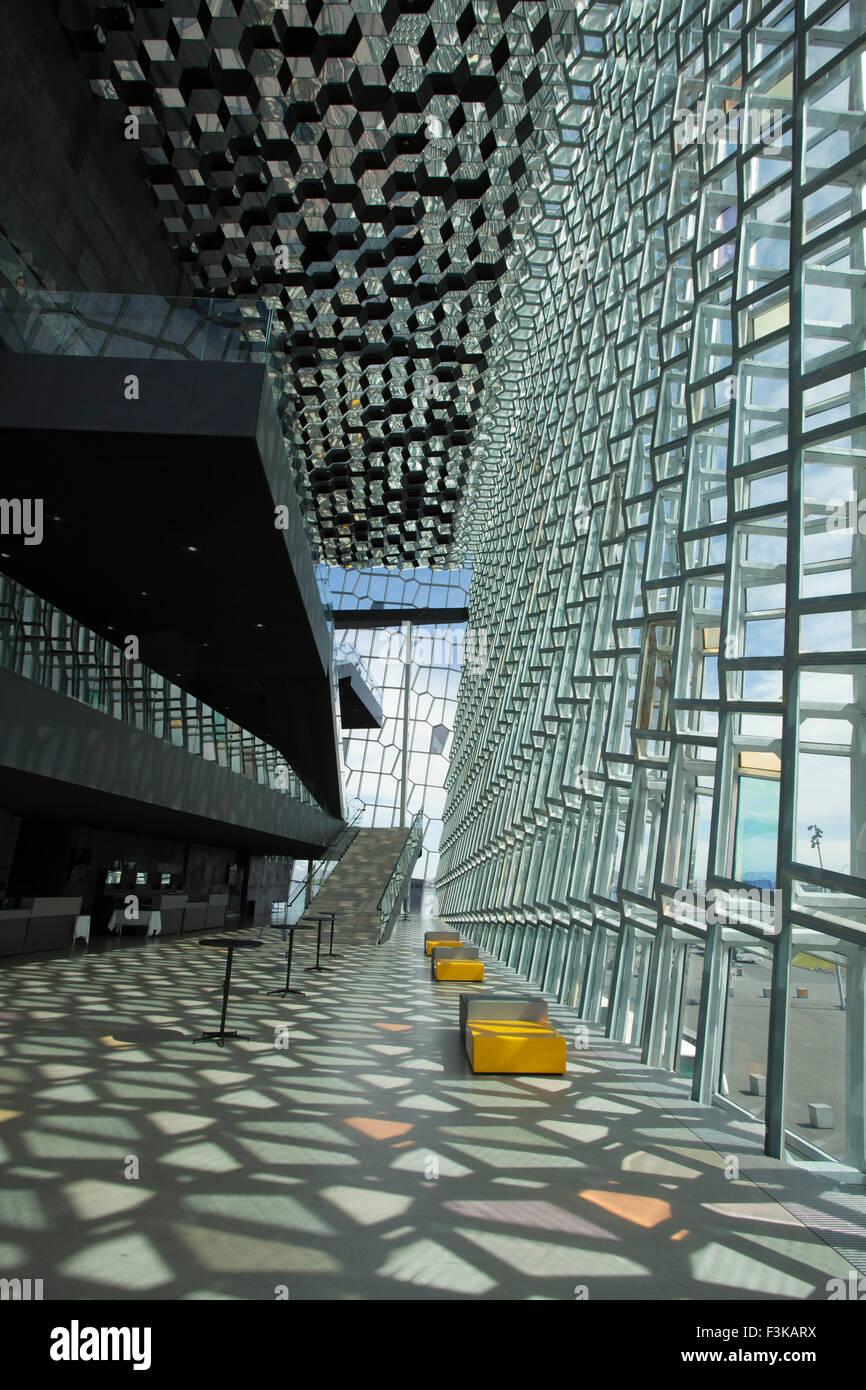 Geodesic interior of Harpa Concert Hall, Reykjavik, Iceland. - Stock Image