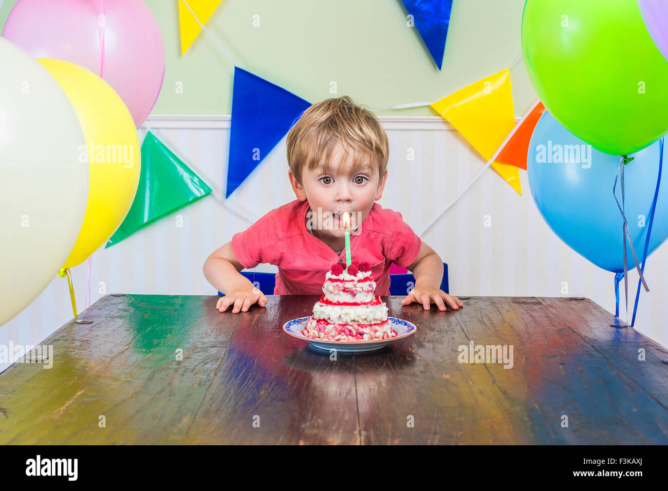 Adorable kid blowing out the candle on his birthday cake - Stock Image