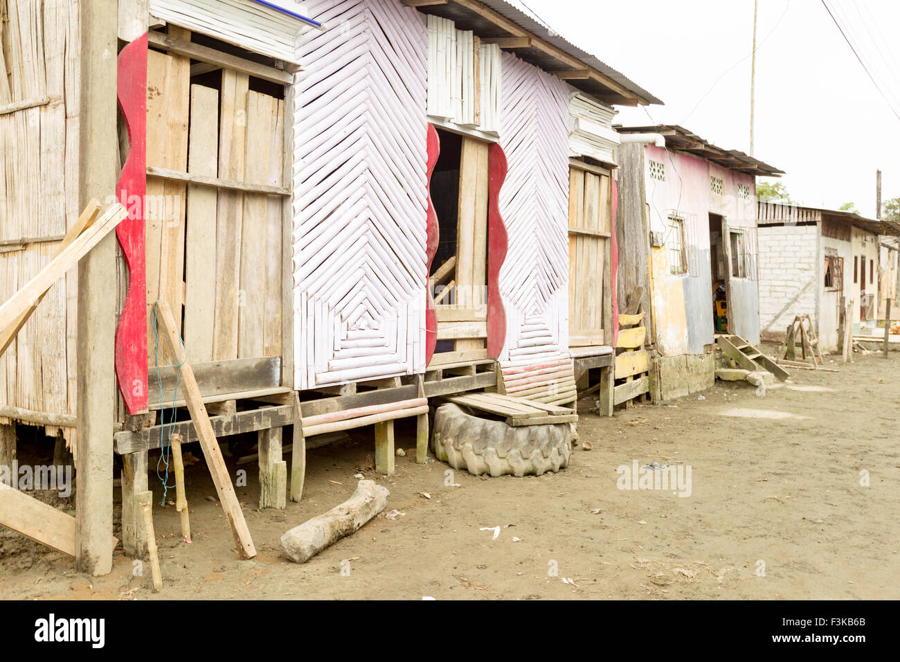 Wood House And Poor Living Conditions - Stock Image