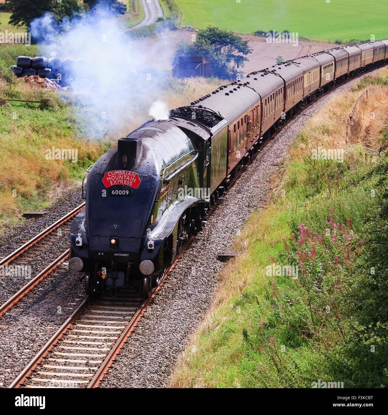 Preserved Sir Nigel Gresley steam locomotive Union of South Africa is pictured south of Langwathby, England.. - Stock Image