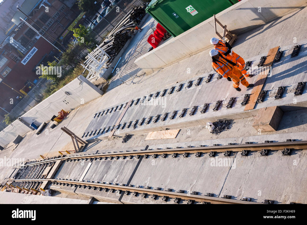 Crossrail track, Silvertown, London, England, U.K. - Stock Image
