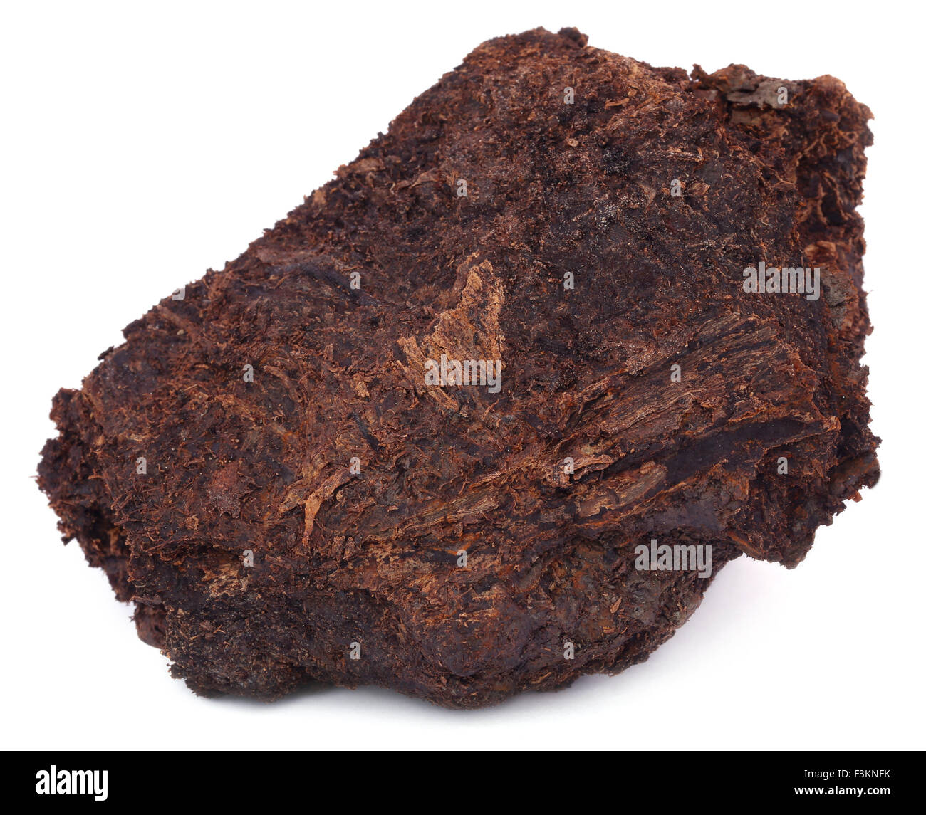 Close up of peat block over white background Stock Photo